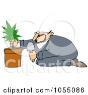 Royalty Free Vetor Clip Art Illustration Of A Man Growing Pot by djart