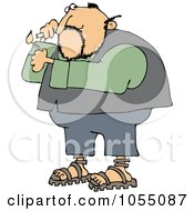 Royalty Free Vetor Clip Art Illustration Of A Man Lighting A Cigarette by djart
