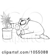 Poster, Art Print Of Coloring Page Outline Of A Man Growing Pot