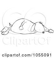 Royalty Free Vetor Clip Art Illustration Of An Outline Of A Sleeping Dog
