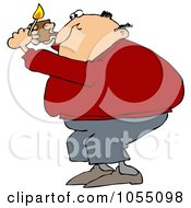 Royalty Free Vetor Clip Art Illustration Of A Man Lighting A Pipe by djart
