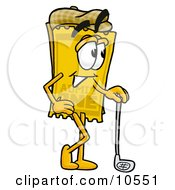Clipart Picture Of A Yellow Admission Ticket Mascot Cartoon Character Leaning On A Golf Club While Golfing by Toons4Biz