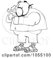 Royalty Free Vetor Clip Art Illustration Of A Coloring Page Outline Of A Man Lighting A Cigarette