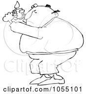 Royalty Free Vetor Clip Art Illustration Of A Coloring Page Outline Of A Man Lighting A Pipe by djart