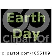 Royalty Free Clip Art Illustration Of Green Grass Textured Earth Day Text On Black