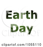 Royalty Free Clip Art Illustration Of Green Grid Textured Earth Day Text