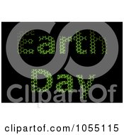 Royalty Free Clip Art Illustration Of Green Grid Textured Earth Day Text On Black