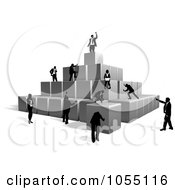 Royalty Free Vector Clip Art Illustration Of Business People Building A Pyramid With Blocks by AtStockIllustration