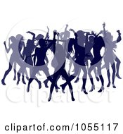 Royalty Free Vector Clip Art Illustration Of A Crowd Of Silhouetted Purple Female Dancers by AtStockIllustration