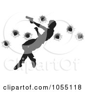 Royalty Free Vector Clip Art Illustration Of A Silhouetted Action Hero Leaping Through The Air And Shooting