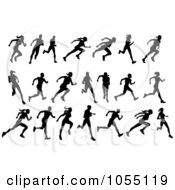 Royalty Free Vector Clip Art Illustration Of A Digital Collage Of Black Silhouetted Runners