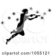 Royalty Free Vector Clip Art Illustration Of A Femme Fatale Shooting With Two Guns Over Bullet Holes