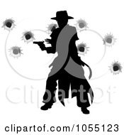 Royalty Free Vector Clip Art Illustration Of A Wild West Gunslinger Firing His Gun With Bullet Holes