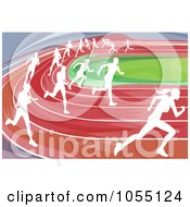 Royalty Free Vector Clip Art Illustration Of White Silhouetted Runners Racing On A Track by AtStockIllustration