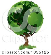 Royalty Free Vector Clip Art Illustration Of A Tree With Foliage In The Shape Of Earths Continents by AtStockIllustration