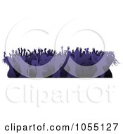 Royalty Free Vector Clip Art Illustration Of A Border Of A Crowd Of Silhouetted Purple Female Dancers