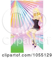 Royalty Free Vector Clip Art Illustration Of A Sexy Blond Woman Sitting On Barstool With Champagne Over Rainbow Rays by AtStockIllustration