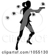 Royalty Free Vector Clip Art Illustration Of A Female Action Hero Shooting With Bullet Holes