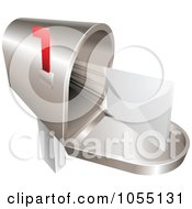 Royalty Free Vector Clip Art Illustration Of A 3d Envelope Shooting Out From A Mailbox