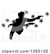 Royalty Free Vector Clip Art Illustration Of An Action Hero Leaping Through The Air And Shooting With Bullet Holes