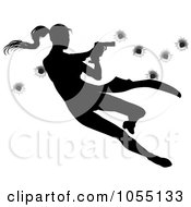 Royalty Free Vector Clip Art Illustration Of A Femme Fatale Jumping And Shooting Over Bullet Holes by AtStockIllustration