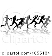 Royalty Free Vector Clip Art Illustration Of A Black Silhouetted Runners by AtStockIllustration