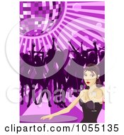 Royalty Free Vector Clip Art Illustration Of A Sexy Woman Holding Champagne At A Table While Others Dance Under A Disco Ball by AtStockIllustration