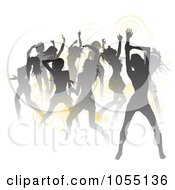 Royalty Free Vector Clip Art Illustration Of A Crowd Of Silhouetted Sexy Women Dancing With Yellow Spirals