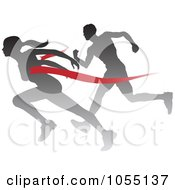 Royalty Free Vector Clip Art Illustration Of A Silhouetted Female Runner Beating A Man To The Finish Line
