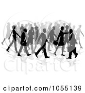Royalty Free Vector Clip Art Illustration Of A Crowd Of Silhouetted Business People Walking by AtStockIllustration