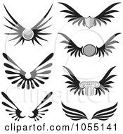 Royalty Free Vector Clip Art Illustration Of A Digital Collage Of Black And White Wings by Any Vector