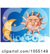 Sun And Moon In A Lined Blue Sky