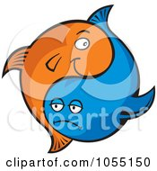 Royalty Free Vector Clip Art Illustration Of Blue And Orange Yin Yang Fish