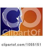 Royalty Free Vector Clip Art Illustration Of A Blue Male Super Heros Face Over Orange by Any Vector