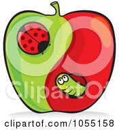 Royalty Free Vector Clip Art Illustration Of A Yin Yang Apple With A Worm And Caterpillar