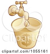 Faucet Dripping Into A Money Bucket