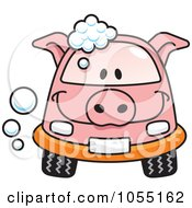 Happy Pig Car With Soap Bubbles