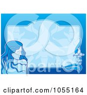 Pretty Woman Over A Horizontal Blue Background With A Frame And Flower
