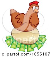 Royalty-Free Vector Clip Art Illustration of a Chicken Laying On An Egg On Money by Any Vector