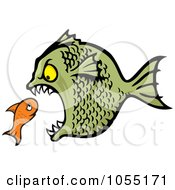 Royalty Free Vector Clip Art Illustration Of A Bully Fish Eating A Small Fish by Any Vector