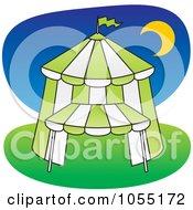 Royalty Free Vector Clip Art Illustration Of A Green Big Top Circus Tent At Night