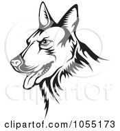 Royalty Free Vector Clip Art Illustration Of A Black And White Guard Dog