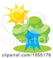 Royalty Free Vector Clip Art Illustration Of A Tree House And Summer Sun by Any Vector