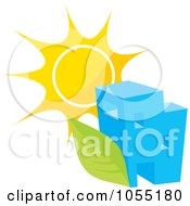 Royalty Free Vector Clip Art Illustration Of A Building With A Green Leaf And Sun by Any Vector