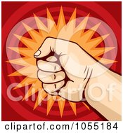 Royalty Free Vector Clip Art Illustration Of A Fist On Red And Orange 2 by Any Vector