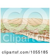 Royalty Free Vector Clip Art Illustration Of A Greek Village And Harbor by Any Vector