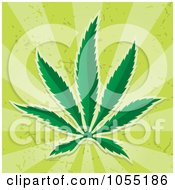 Royalty Free Vector Clip Art Illustration Of A Cannabis Leaf On Green Rays