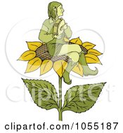Elf Playing A Tambourine On A Sunflower
