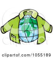 Royalty Free Vector Clip Art Illustration Of A Green Jacket Around A Globe