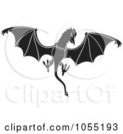 Royalty Free Vector Clip Art Illustration Of A Black And White Dragon Like Daemon by Any Vector